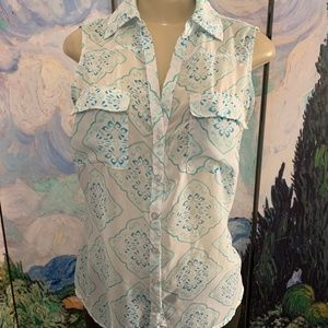 New York & Company Teal Sheer Button Down Top